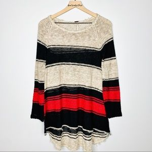 Free People Long Sleeve Striped Knitted Tunic Top